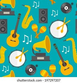 Flat seamless music pattern with instruments