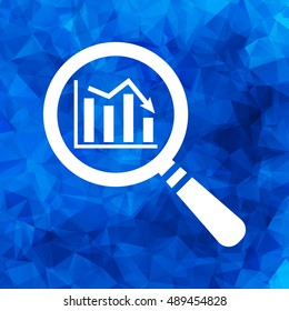 flat search icon of graph going down on a blue Triangular Polygonal background