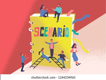 Flat semi vector illustration of artists and film or drama thater director who teach roles against the background of the scenario. Script reading concept for art project, films, theaters. Big book.