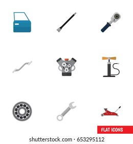 Flat Service Set Of Lifting, Spanner, Wheel Pump And Other Vector Objects. Also Includes Car, Pipeline, Joint Elements.