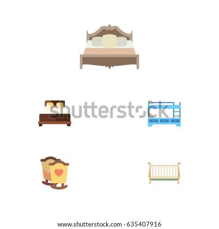 Flat Set Bunk Bed Cot Crib Stock Vector Royalty Free 635407916