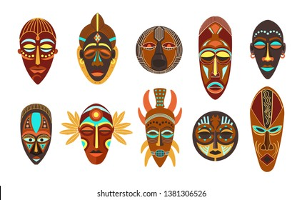 Flat set of colorful african ethnic tribal ritual masks of different shape isolated on white background vector illustration.