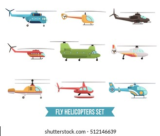 Flat set of different flying colorful helicopters isolated on white background vector illustration