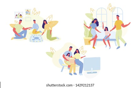 Flat Set Entertainment and Leisure for Families. Mom, Dad and Son Play Board Game. Parents Dance with their Daughter and Laugh. Father and Mother are Watching Movie with Child Cartoon.