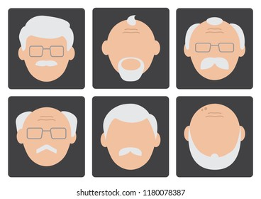 Flat set of face old men on gray background, avatar. Vector illustration