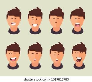 Flat set faces of men