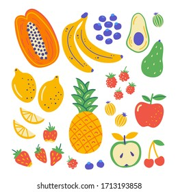 Flat set hand drawn healthy food. Illustration of fruits. Organic products in sketch style. Isolated scandinavian items. Farm market, restaurant menu design, banner, cookbook page.