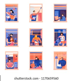 Flat set of icons with neighbors doing different daily activities in windows of their flats isolated on white background vector illustration