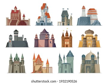 Flat set of medieval castles in different architectural styles on white background isolated vector illustration