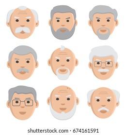 Flat set of old men, avatar, vector illustration