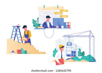 Flat set with programmer, builder and architect professions. Concept collection man employee at work. Vector illustration.