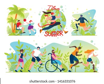 Flat Set Social Flyer Inscription I Love Summer. Special Care for People with Disabilities. People with Disabilities Need to be Physically Active and Entertaining. Vector Illustration.