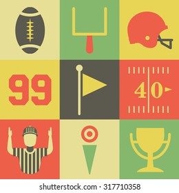 A flat set of vintage American football icons and graphics.