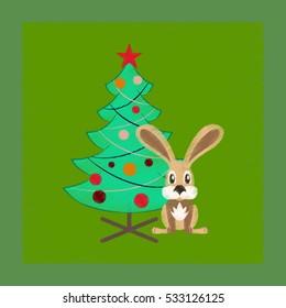 flat shading style icon Christmas tree Rabbit