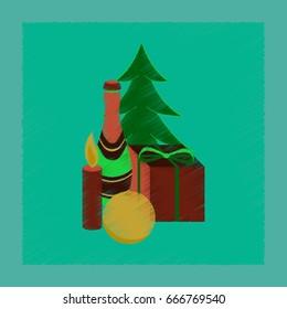 flat shading style icon Christmas gift