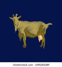 flat shading style icon goat