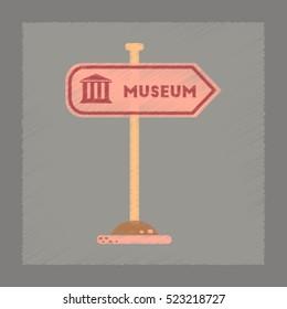 flat shading style icon Museum sign