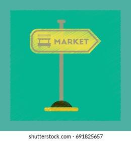 flat shading style icon sign of market