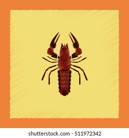 flat shading style illustration seafood lobster