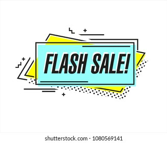 Flat shaped linear sale banner, price tag, sticker, badge. Vector illustration.