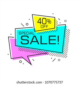 Flat shaped sale banner, price tag, sticker, badge. Vector illustration.