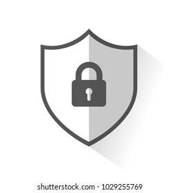 Flat Shield Icon - Lock