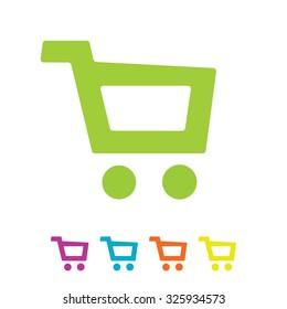 Flat Shopping Cart Basket Add to Cart icons set vector, ecommerce cart, supermarket trolley label shape, buy now symbol, modern design illustration