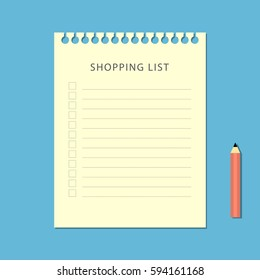 Flat shopping list and pencil on blue background. Vector illustration