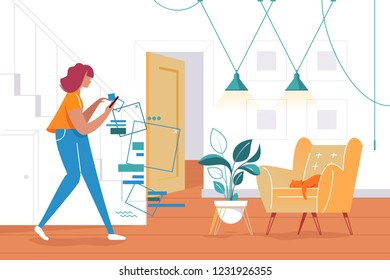 Flat silhouette young woman with cellphone in phone world. Concept girl notices nothing, chair with cat, home furnishings. Vector illustration.