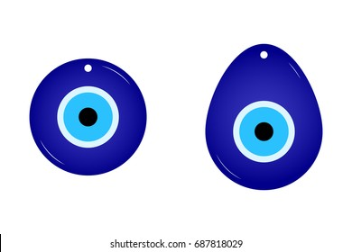 Flat simple amulet isolated on white background. Blue color icon of cute talismans in the cartoon style. Vector illustration. Image of Fatima's Eye. Amulet from evil eye. Nazar. Magic Item, Attribute.