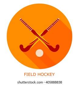 Flat simple icon field hockey on a red circle. It is easy to change the shape and color. Vector illustration