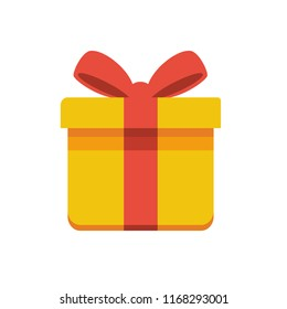 flat and simple Icon of gift boxes with red ribbons flat and simple