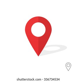 Flat simple marker with map vector icon template design colorful. Modern plan pointer banner logo template. GPS Navigation system pin illustration on gray background. Mobile application sign.