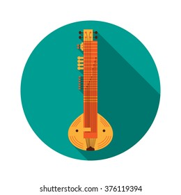 Flat Sitar with Shadow. Vector Illustration. Musical Instrument Flat Stylized with Long Shadow. Design element for your design.