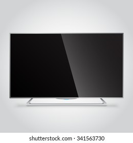 Flat Smart TV Mockup with blank screen, flat lcd display, realistic vector