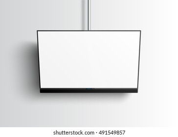 Flat Smart TV Mockup with blank white screen hanging on the tube, soundbar, realistic vector illustration