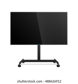 Flat Smart TV Mockup on the Floor Stand with wheels. Flat lcd display, realistic Vector