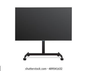 Flat Smart TV Mockup on the Floor Stand with wheels. Realistic Vector