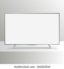 Flat Smart TV Mockup with white blank screen