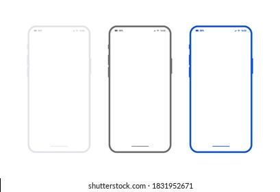 Flat smartphone mockup set white, black and blue colors. Generic mobile phone in front view and empty screen for app design or web site presentation. Outline vector device frame in front view.