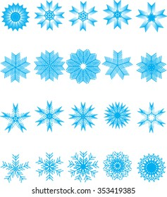 Flat snowflakes. Icons isolated on a white background. Set of 20 blue symbols/ Elements of various shape for your design. Vector illustration.