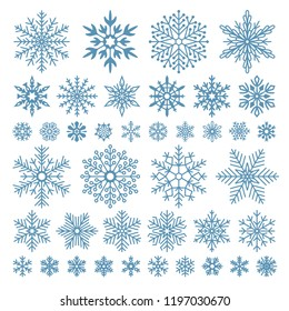 Flat snowflakes. Winter snowflake crystals, christmas snow shapes and frosted cool blue icon, cold xmas season frost snowfall decoration. Vector isolated symbol set