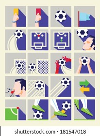 Flat Soccer Icon Collection