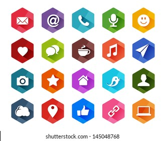 Flat Social Media Icons for Light Background in Long Shadow Style