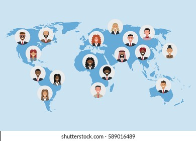 Flat social media and network. Business people icons composing a world map