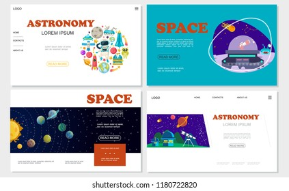 Flat space websites set with solar system astronaut moon rover spaceship rocket alien Earth planet planetary telescope meteor satellite vector illustration