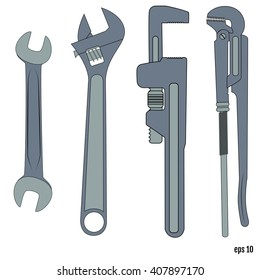 Flat spanners set. Illustration on white background for design.