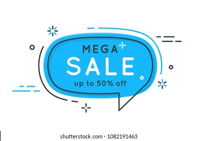 Flat speech bubble shaped banners, price tags, stickers, badges. Vector illustration
