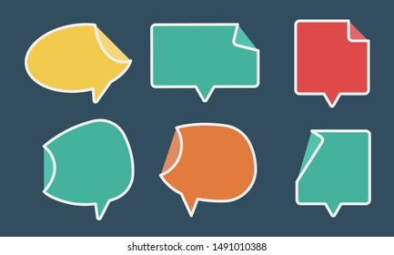 flat Speech frames set, for chat text or comic text, vector dialogue set