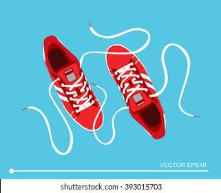 Flat sport sneakers background concept. Vector illustration design